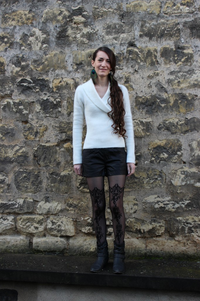 peacock earrings lace tights angora leather shorts